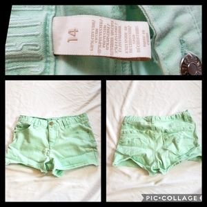 Justice Girls Shorts Size 14 Mint